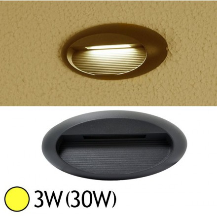Applique murale LED COB 3W (30W) IP54 Blanc chaud Forme ovale