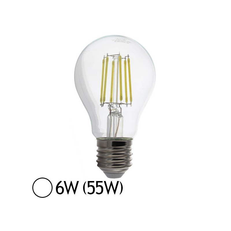 ampoule led 6w 55w e27 filament bulb claire blanc jour 4000 k led et fluo. Black Bedroom Furniture Sets. Home Design Ideas
