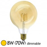 Ampoule Led 8W (70W) E27 Dimmable Filament Globe doré D125 Blanc chaud 2700°K
