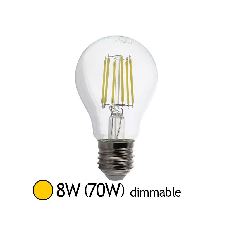 Ampoule led 8w 70w e27 dimmable filament bulb claire blanc chaud 2700 k led et fluo - Ampoule led dimmable ...