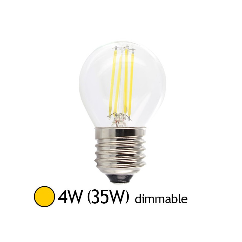 Ampoule led 4w 35w e27 dimmable filament bulb claire blanc chaud 2700 k led et fluo - Ampoule led dimmable ...
