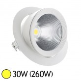 Spot Led escargot COB 30W (260W) encastrable orientable Blanc chaud 3000°K