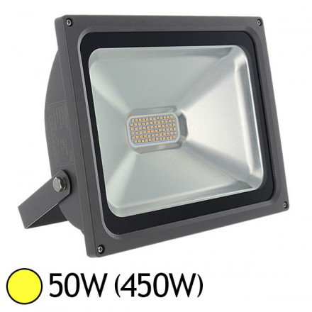 Projecteur ext LED SMD 50W (450W) IP65 Anthracite Blanc chaud 3000°K