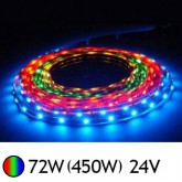Bandeau LED 72W (450W) 24V IP20 (nu) RGB (multi couleurs)
