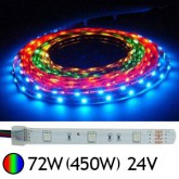 Bandeau LED 72W (450W) 24V IP67 (Gaine silicone) RGB (multi couleurs)