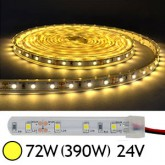 Bandeau LED 72W (390W) 24V IP67 Gaine silicone Blanc chaud 3000°K