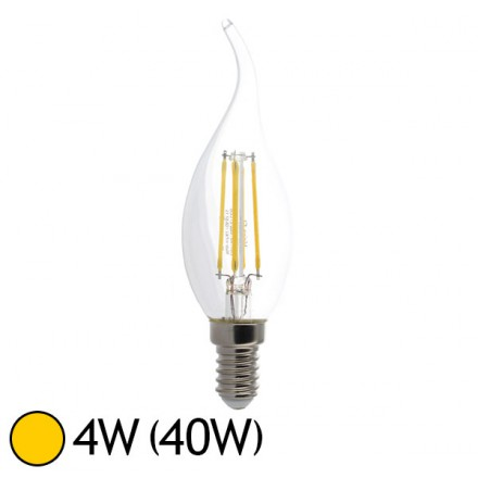 ampoule led 4w 40w cob filament e14 flamme claire blanc chaud 2700 k led et fluo. Black Bedroom Furniture Sets. Home Design Ideas