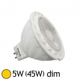 Spot LED COB 5W (45W) GU5.3 12V DC Dimmable Blanc chaud 2700°K
