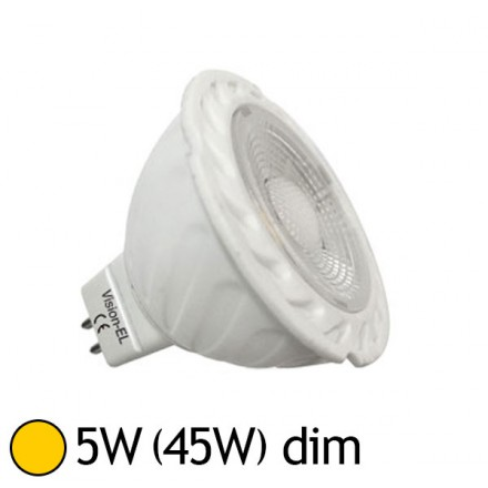 Spot Led 5W (45W) dimmable GU5.3 12V Blanc chaud 2700°K