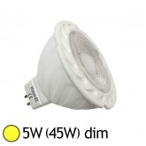 Spot LED COB 5W (45W) GU5.3 12V DC Dimmable Blanc chaud 3000°K