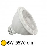 Spot LED COB 6W (55W) GU5.3 12V DC Dimmable Blanc chaud 2700°K