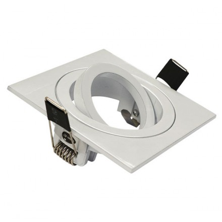 Support Spot LED Orientable et clipsable Carré 88 Finition Blanc