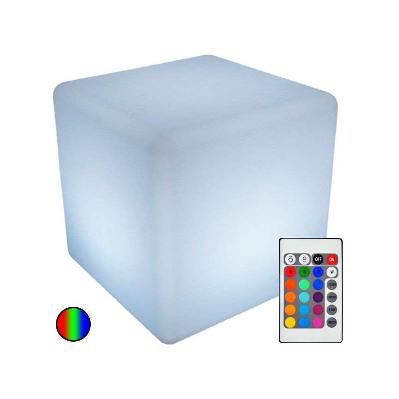 cube lumineux multi couleurs led rgb w avec batterie et. Black Bedroom Furniture Sets. Home Design Ideas