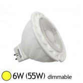 Spot LED COB 6W (55W) GU5.3 12V DC Dimmable Blanc chaud 3000°K