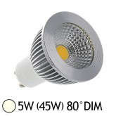 Spot LED COB 5W (45W) GU10 Dimmable Angle 80° Blanc jour 4000°K