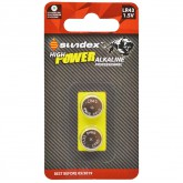 Piles (x2) LR43 - 1.5V - Alcaline Pro High Power Sundex