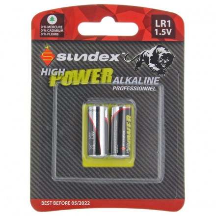 Piles (x2) LR1 - 1.5V - Alcaline Pro High Power Sundex