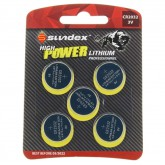Piles (x5) CR2032 - 3V - Lithium Pro High Power Sundex