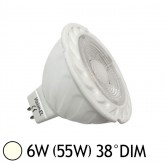 Spot LED COB 6W (55W) GU5.3 12V DC Dimmable Angle 38° Blanc jour 4000°K