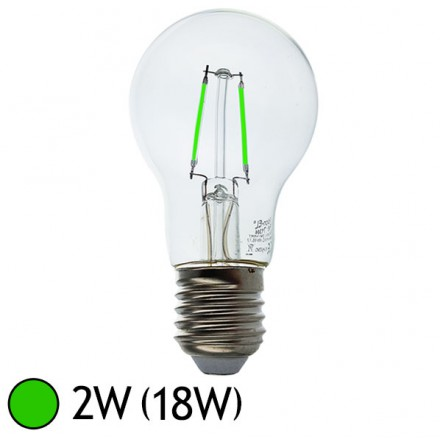 Ampoule LED COB à Filament 2W (18W) E27 Eclairage Vert Bulb transparent