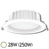 Downlight LED 28W (250W) Encastrable Ø230 Blanc jour 4000°K Alu blanc