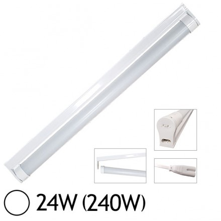 Tube LED 24W (240W) T8 1500 mm Blanc jour 6000°K dépoli + support T8