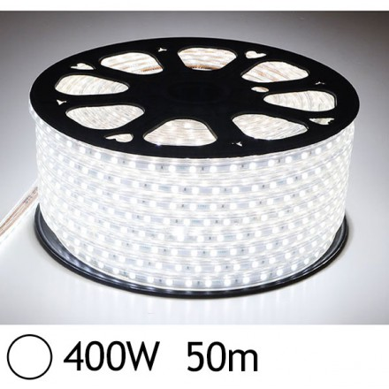Bobine LED 50 mètres 400W 230V Blanc jour 6000°K gainage pvc IP65