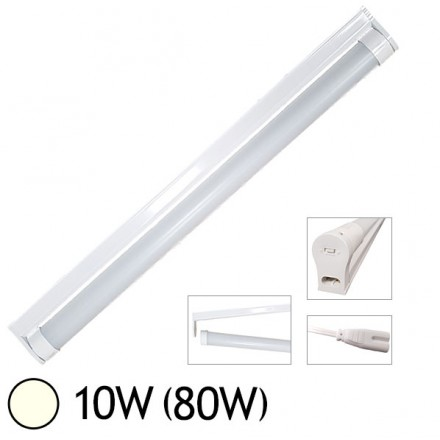 Tube LED 10W (80W) T8 600 mm Blanc jour 4000°K dépoli + support chainable