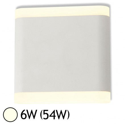 Applique murale LED 6W (54W) IP54 Blanc jour 4000°K Carré 110 Blanc