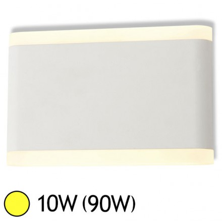 Applique murale LED 10W (90W) IP54 Blanc chaud 3000°K Rect 175x110 Blanc