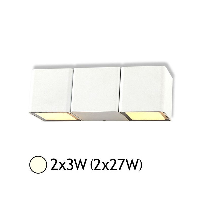 applique murale double led 2x3w  2x27w  ip54 blanc jour