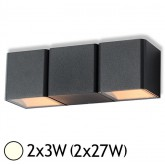 Applique murale double LED 2x3W (2x27W) IP54 Blanc jour 4000°K Cube Anthr