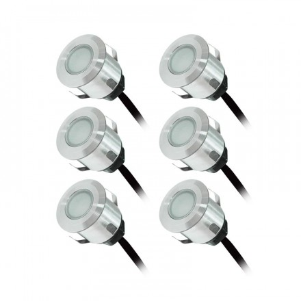 KIT 6 Spots LED encastrables terrasse 0,6W 12VAC IP67 Blanc chaud 3000°K + alim