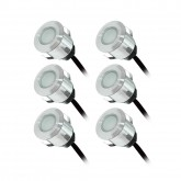 KIT 6 Spots LED encastrables terrasse 0,6W 12VAC IP67 Couleur BLEU+ alim