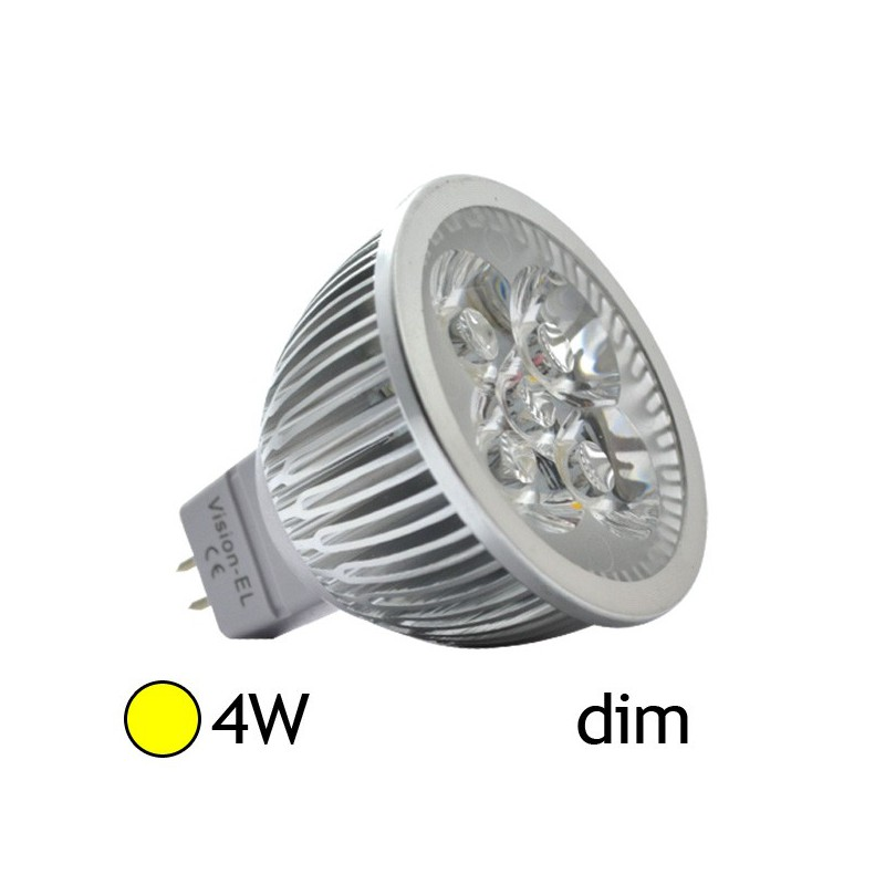 Spot led 4w 40w gu5 3 dimmable 12v blanc chaud led et fluo - Ampoule gu 5 3 ...