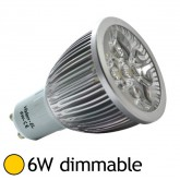 Spot Led dimmable 6W GU10 Blanc chaud 2700