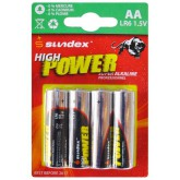 Piles (x4) LR6 AA - 1.5V - Super Alcaline Pro High Power Sundex
