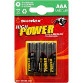 Piles (x4) LR3 AAA 1.5V Super Alcaline Pro High Power