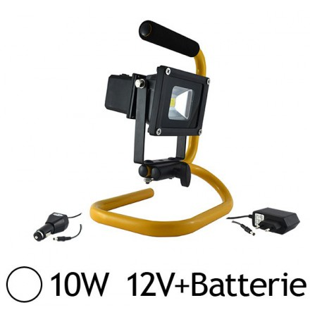 Projecteur LED portatif 10W IP65 avec batterie 12V