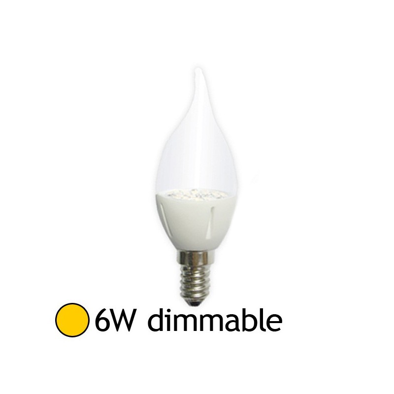 Ampoule led 6w 60w dimmable e14 flamme claire blanc chaud 2800k led et fluo - Ampoule led dimmable ...